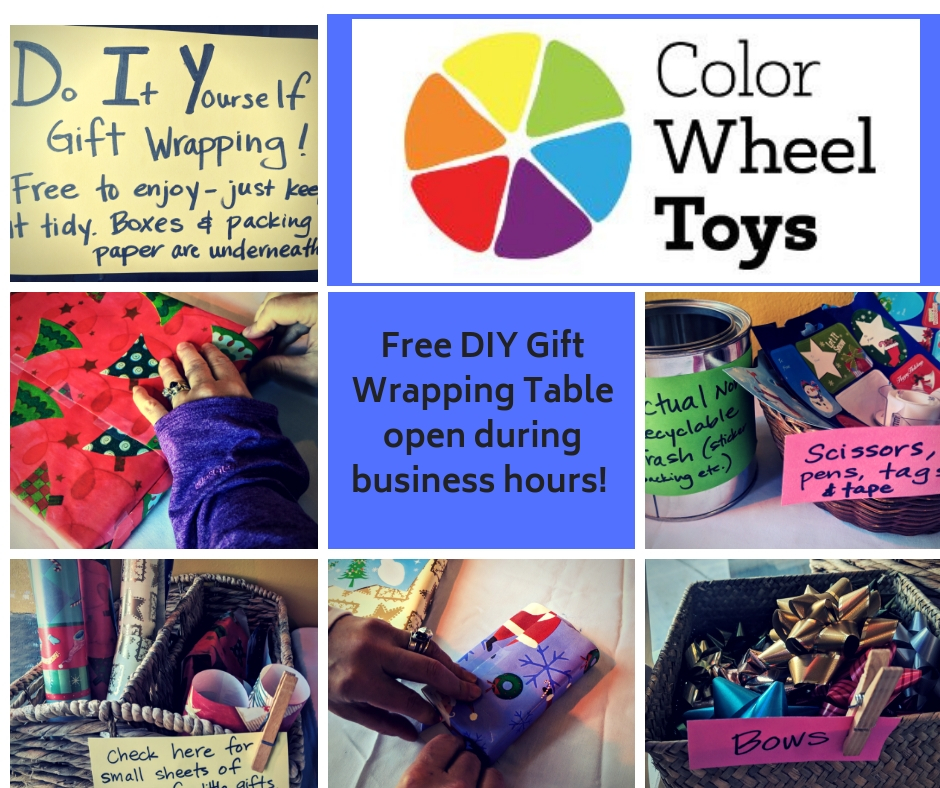Free DIY Gift Wrapping Table Open during business hours!
